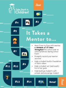 It takes a mentor to Meet Face to Face with mentee a minimum of 15 times throughout the school year on school premises during school hours • Promptly record your mentor sessions • Help a student build a foundation of basic values • Help a student set (and reach) his or her goals • Help build up student's self esteem and encourage student